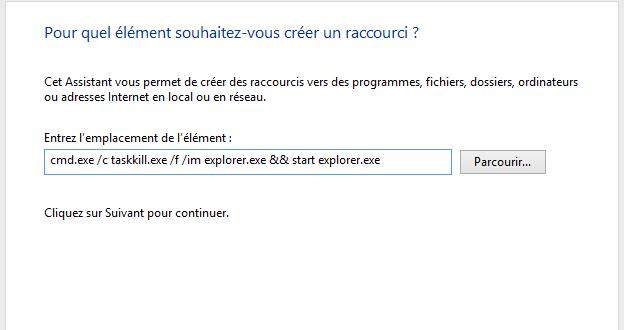 Relancer l'Explorateur Windows en utilisant un raccourci