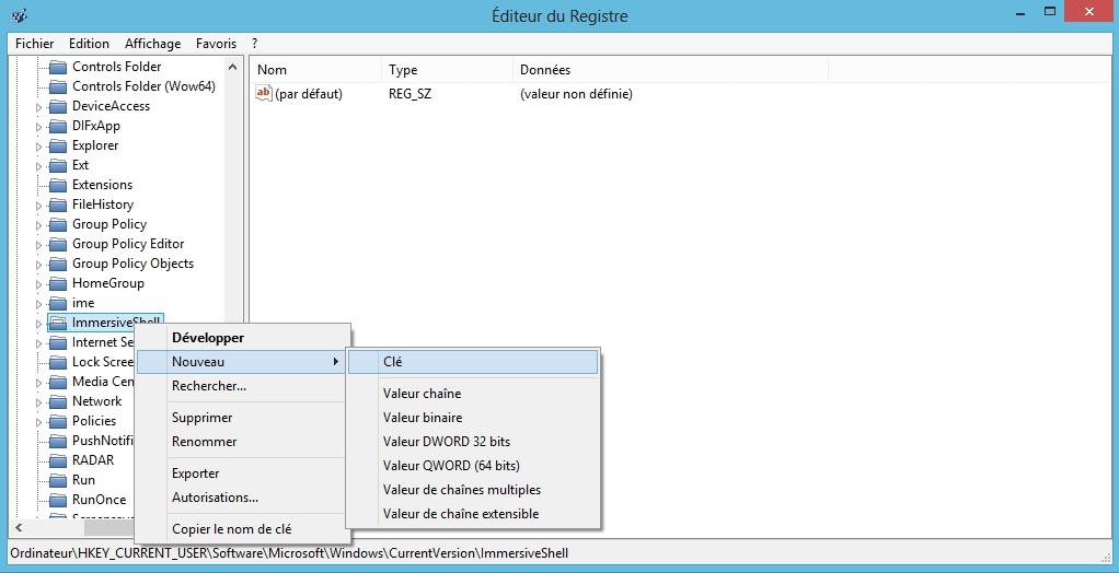 Désactiver la barre charms et d'applications métro dans Windows 8