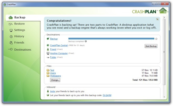 CrashPlan - sauvegarde de données