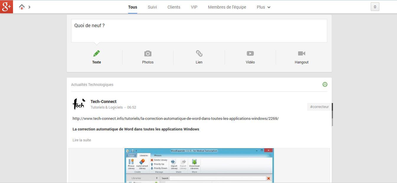 Augmenter la largeur des messages sur Google+
