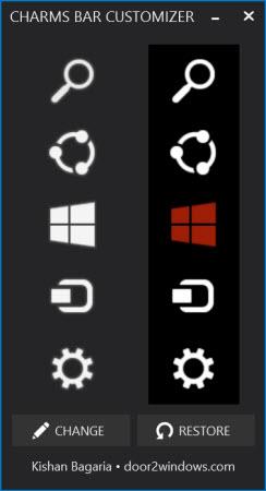 Changer les icônes de la barre charms de Windows 8.1