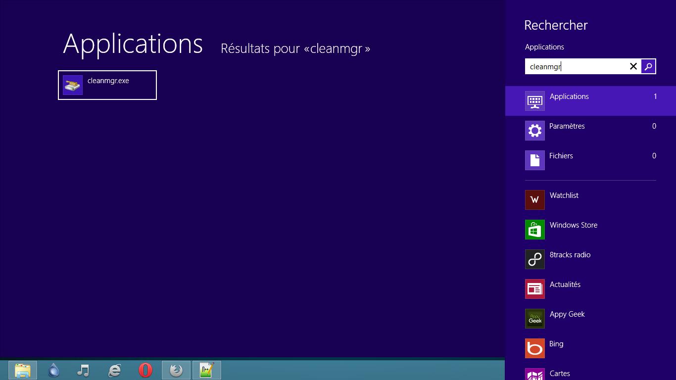 Effacer la mémoire cache de Windows 8
