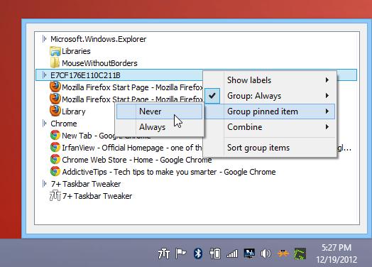 Taskbar Inspector ou Inspecteur de barre de tâches est une fonction pratique qui vous fournit des commandes rapides pour modifier le comportement du groupement et de la combinaison, l'affichage des étiquettes et des options de tri pour les boutons de la barre des tâches.
