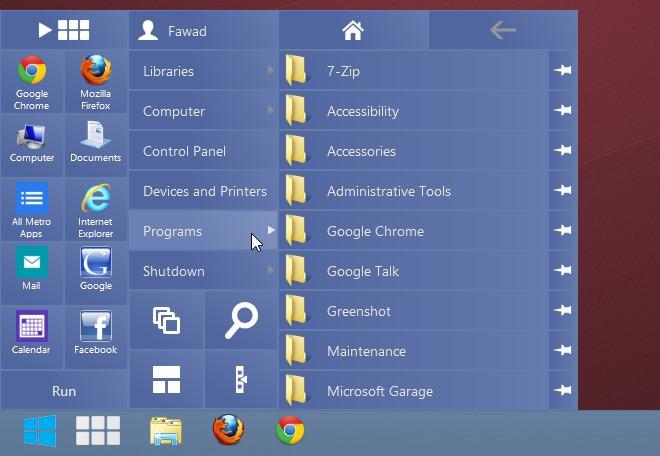 RetroUI Pro exécutent les applications metro au bureau.