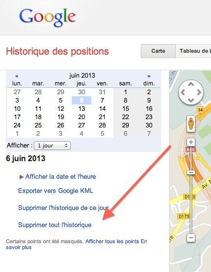 Afficher et supprimer l'historique des positions de Google