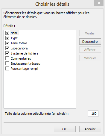 Séparez les appareils et les lecteurs dans l'explorateur de Windows 8.1