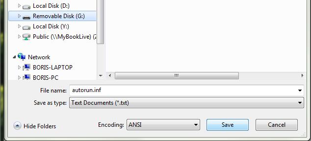enregistrement du fichier vide dans la clé usb