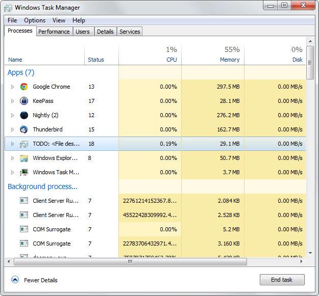 Le gestionnaire des tâches de Windows 8 sur Windows 7