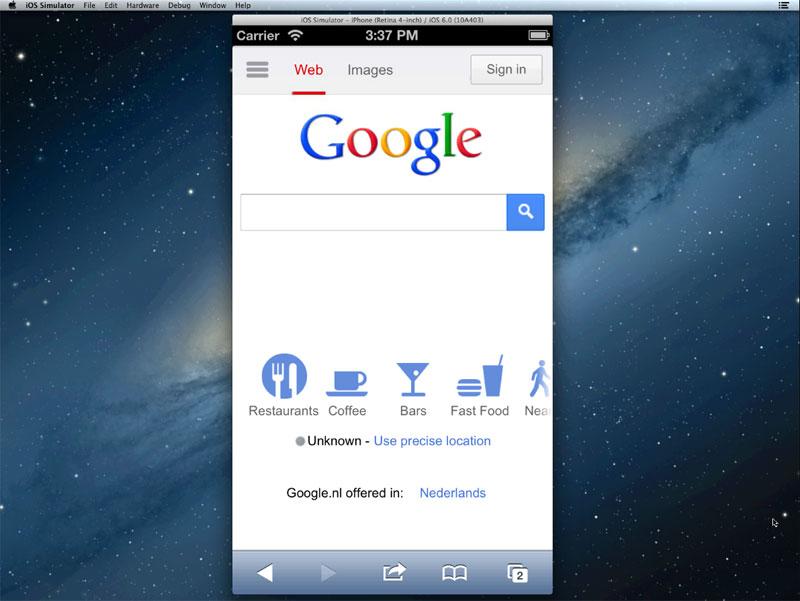 Exécuter le simulateur d'iOS dans le navigateur Web