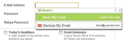 MaskMe crée des adresses mails jetables