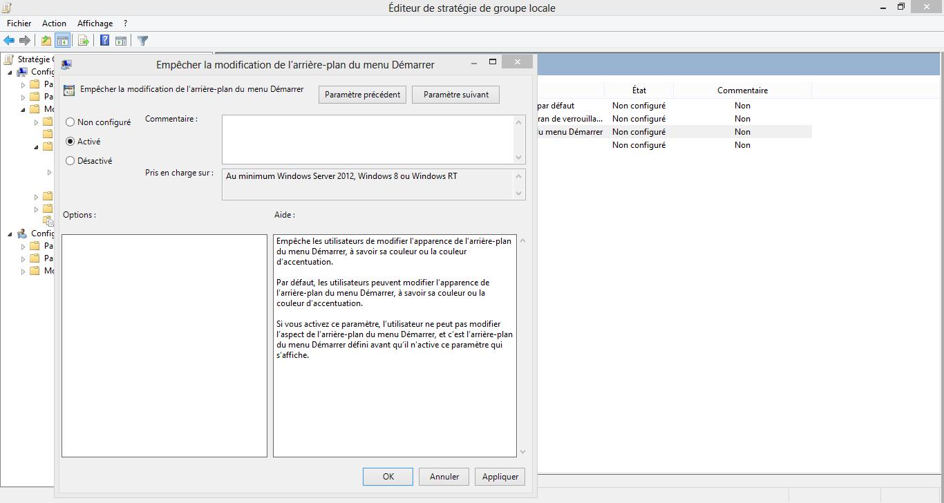 Empêcher les utilisateurs de modifier votre fond d'écran Windows 8
