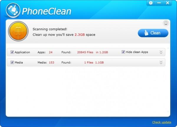 PhoneClean libère de l'espace disque sur votre iPhone